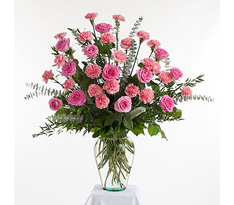 Roses & Carnations Vase Arrangement in Dallas TX, In Bloom Flowers, Gifts and More