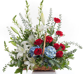 Patriotic Fireside Arrangement in Dallas TX, In Bloom Flowers, Gifts and More