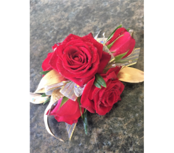 Red and Gold Corsage in Clearwater FL, Hassell Florist