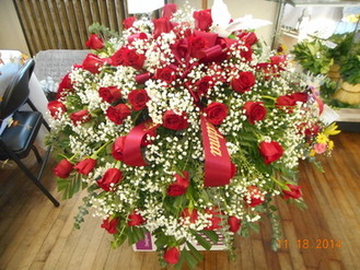Red Rose Casket Spray in Middletown OH, Flowers by Nancy
