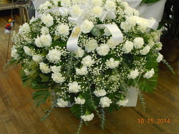 White Carnation Casket Spray in Middletown OH, Flowers by Nancy