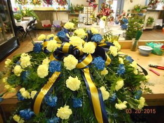 Blue and Yellow Carnation Casket Spray in Middletown OH, Flowers by Nancy
