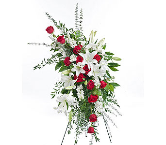 Red & White Standing Easel in Dallas TX, In Bloom Flowers, Gifts and More