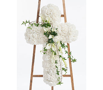 Elegant White Cross in Dallas TX, In Bloom Flowers, Gifts and More