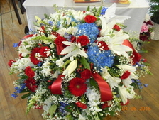 Red, White & Blue Mixed Casket Spray in Middletown OH, Flowers by Nancy