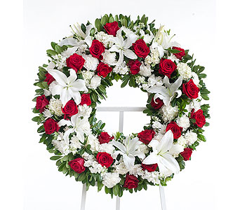 Red & White Wreath in Dallas TX, In Bloom Flowers, Gifts and More