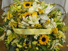 Yellow & White Mixed Casket Spray in Middletown OH, Flowers by Nancy