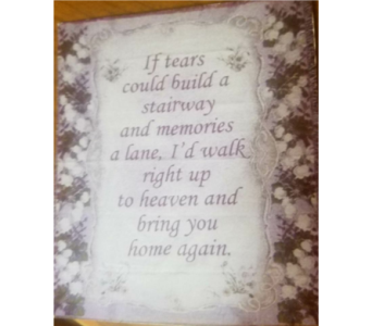 If Tears Could Build a Stairway throw in Crown Point IN, Debbie's Designs