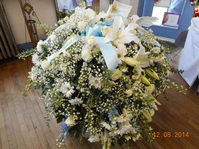 All White/ Touch of LIght Blue Casket Spray in Middletown OH, Flowers by Nancy