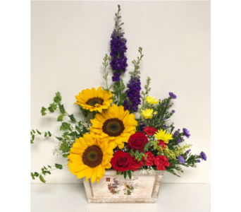 Goldfinch Sunflower Arrangement in Wyoming MI, Wyoming Stuyvesant Floral
