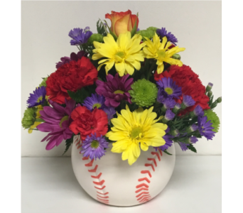 5 inch Baseball Ceramic w/Fresh Flowers-All Around in Wyoming MI, Wyoming Stuyvesant Floral