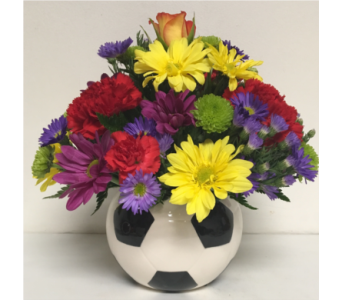 5 inch Ceramic Soccer Ball w/Fresh Flowers - Round in Wyoming MI, Wyoming Stuyvesant Floral