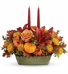 Teleflora's Country Oven Centerpiece in The Woodlands TX, Rainforest Flowers