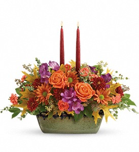 Teleflora's Country Sunrise Centerpiece in The Woodlands TX, Rainforest Flowers