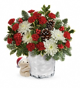 Send a Hug Bear Buddy Bouquet by Teleflora in Tuckahoe NJ, Enchanting Florist & Gift Shop