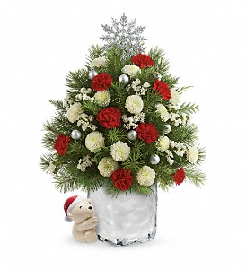 Send a Hug Cuddly Christmas Tree by Teleflora in Fredonia NY, Fresh & Fancy Flowers & Gifts