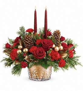 Teleflora's Festive Glow Centerpiece in Jamesburg NJ, Sweet William & Thyme