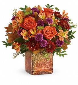 Teleflora's Golden Amber Bouquet in Dublin OH, Red Blossom Flowers & Gifts