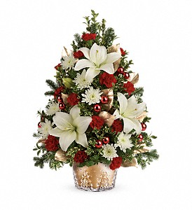 Teleflora's Golden Pines Tree in Dubuque IA, New White Florist