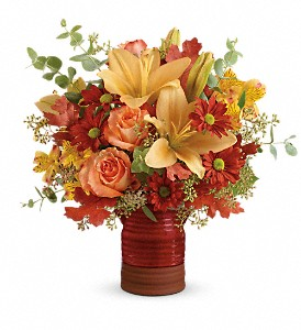 Teleflora's Harvest Crock Bouquet in The Woodlands TX, Rainforest Flowers