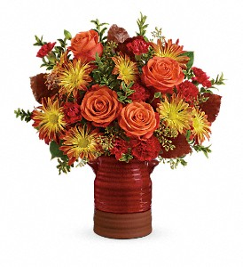 Teleflora's Heirloom Crock Bouquet in Wichita Falls TX, Autumn Leaves