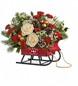 Teleflora's Joyful Sleigh Bouquet in Jamesburg NJ, Sweet William & Thyme