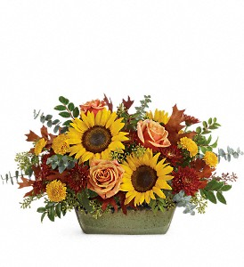 Teleflora's Sunflower Farm Centerpiece in Bedford NH, PJ's Flowers & Weddings