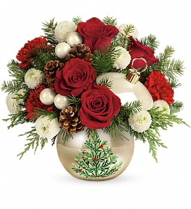 Teleflora's Twinkling Ornament Bouquet in Jamesburg NJ, Sweet William & Thyme