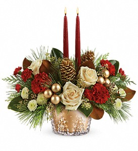 Teleflora's Winter Pines Centerpiece in North Canton OH, Seifert's Flower Mill