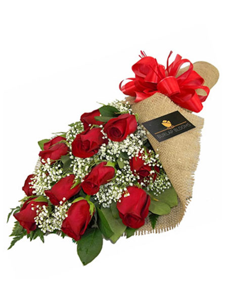 RUSH DELIVERY: Burlap Blooms, Classic Red Roses in Raleigh NC, Fallon's Flowers