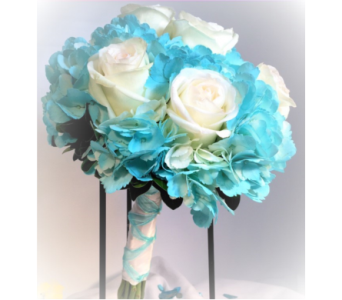 Turquoise and White Rose Bouquet in Clearwater FL, Hassell Florist