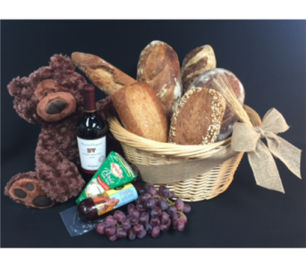 Grand Central Bread Basket with Grapes, Brie in Portland OR, Portland Florist Shop