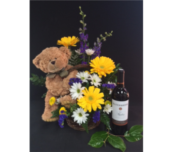 Wine and Teddy love in Portland OR, Portland Florist Shop