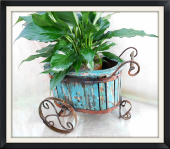 Small Wooden Wrought Iron Cart in Tyler TX, The Flower Box
