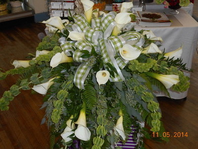 Calla Lily Casket Spray in Middletown OH, Flowers by Nancy