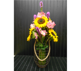 Fall Wine Bottle Bouquet in Ionia MI, Sid's Flower Shop