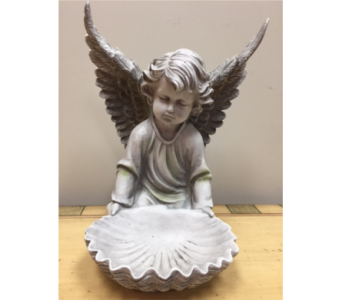 Angel with shell in Brownsburg IN, Queen Anne's Lace Flowers & Gifts