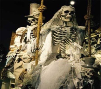 Mark Robert�s Life Size Bride & Groom Skeletons in Bellevue WA, CITY FLOWERS, INC.