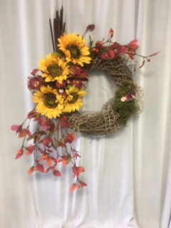 Sunflower Cattail Wreath in Elyria OH, Botamer Florist & More
