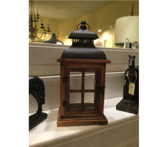 Cedar Lantern With Vented Burnished Decorated Top in Owensboro KY, Welborn's Floral Company