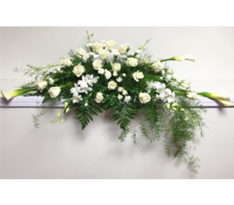 All White with 24 White Roses Casket Spray in Wyoming MI, Wyoming Stuyvesant Floral