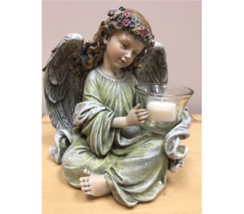 Angel with Votive Candle in Brownsburg IN, Queen Anne's Lace Flowers & Gifts