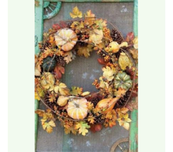 PARK HILL PUMPKIN HARVEST 24 inch wreath   in Bellevue WA, CITY FLOWERS, INC.