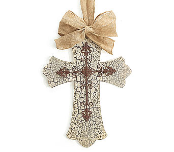 Crackle Distressed Cross in Tampa FL, Buds, Blooms & Beyond
