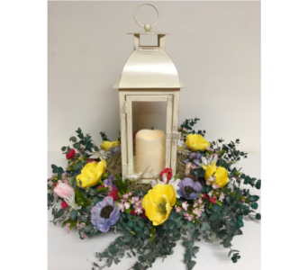 Brushed Metal Lantern w/ Spring Eucalyptus Wreath in Wyoming MI, Wyoming Stuyvesant Floral