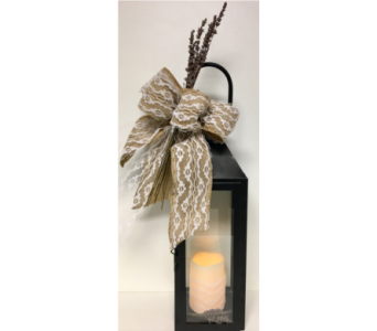 Burlap, Lace, and Lavender Manhattan Lantern in Wyoming MI, Wyoming Stuyvesant Floral