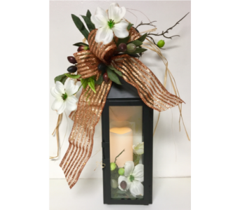 Manhattan Black Candle Lantern with Dogwood in Wyoming MI, Wyoming Stuyvesant Floral
