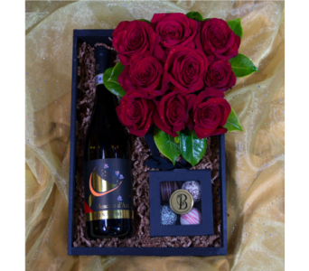 Bee Spoiled Champagne & Roses Crate in Reno NV, Bumblebee Blooms Flower Boutique