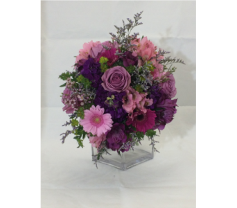 Popping Purple Cube in Manhasset NY, Town & Country Flowers