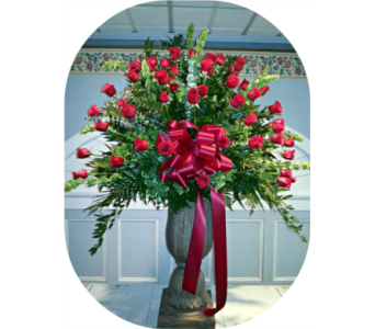 Large Urn All Roses in Staten Island NY, Kitty's and Family Florist Inc.